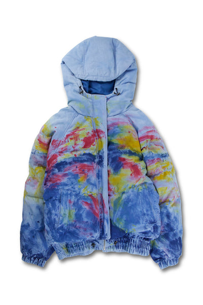 Hand Painted Sunset Puffer Jacket