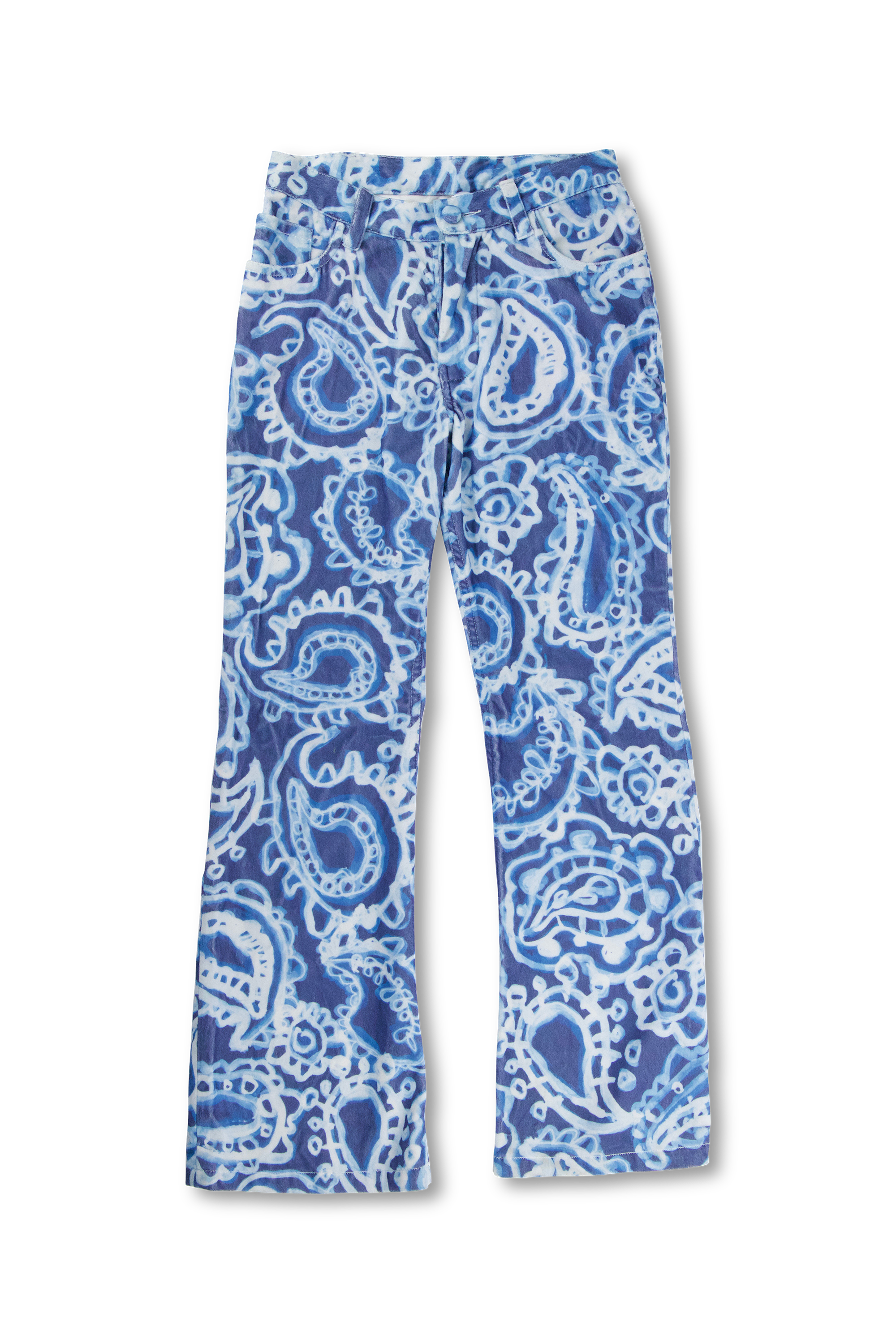 Distorted Paisley Velvet Flared Jeans