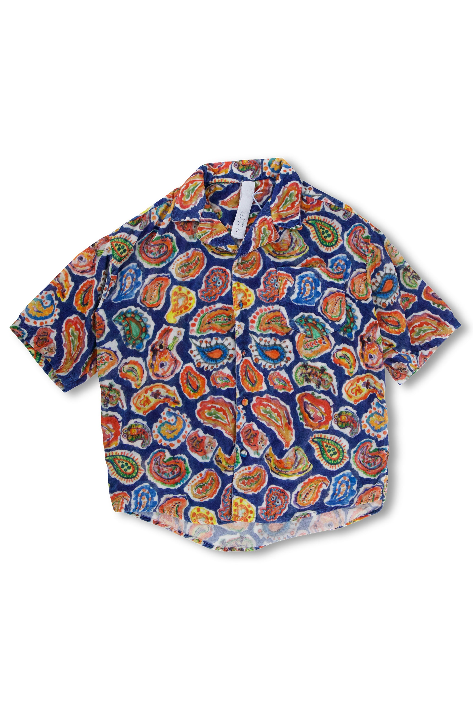 Hand Painted Paisley Silk Velvet Hawaii Shirt