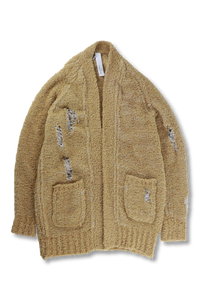 Distressed Knitted Shearling Cardigan