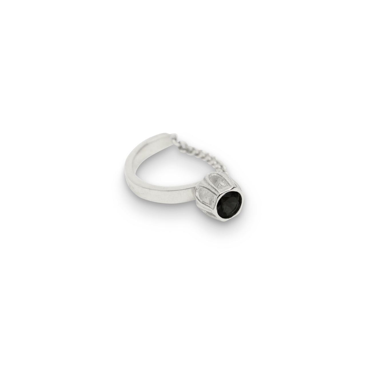 Silver Black Spinel Cobble Ring