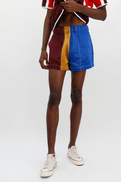 Satin Boxer Shorts Gold/Blue