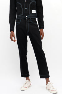 Blue Contrast Stitch Jeans Black