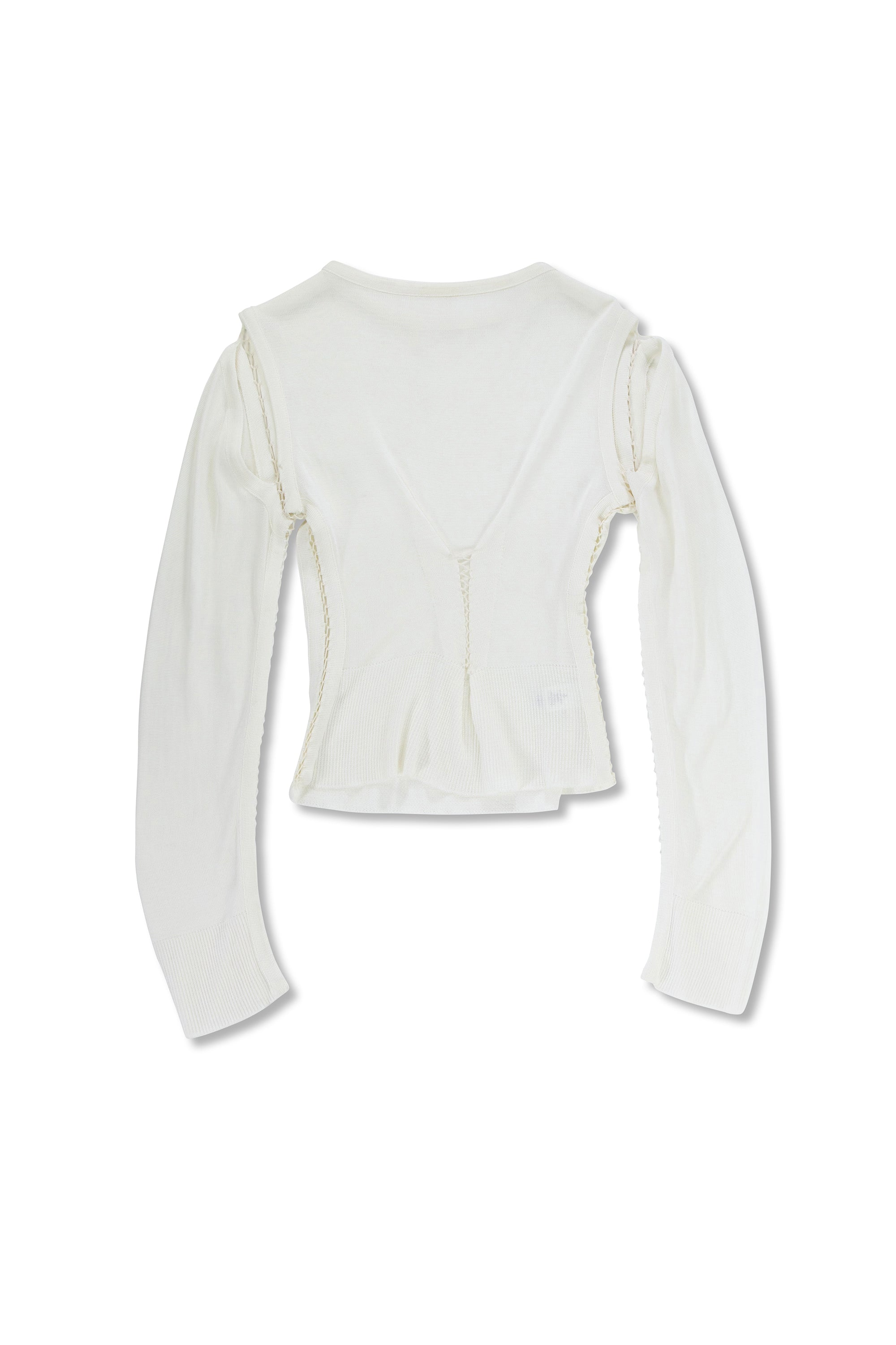 Long Sleeve Cut out Top Ivory