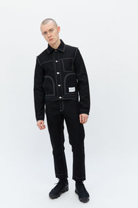 Contrast Stitch Denim Jacket Black
