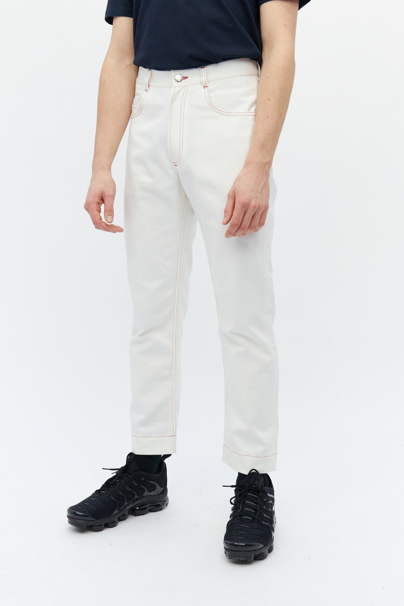 Contrast Stitch Jeans White