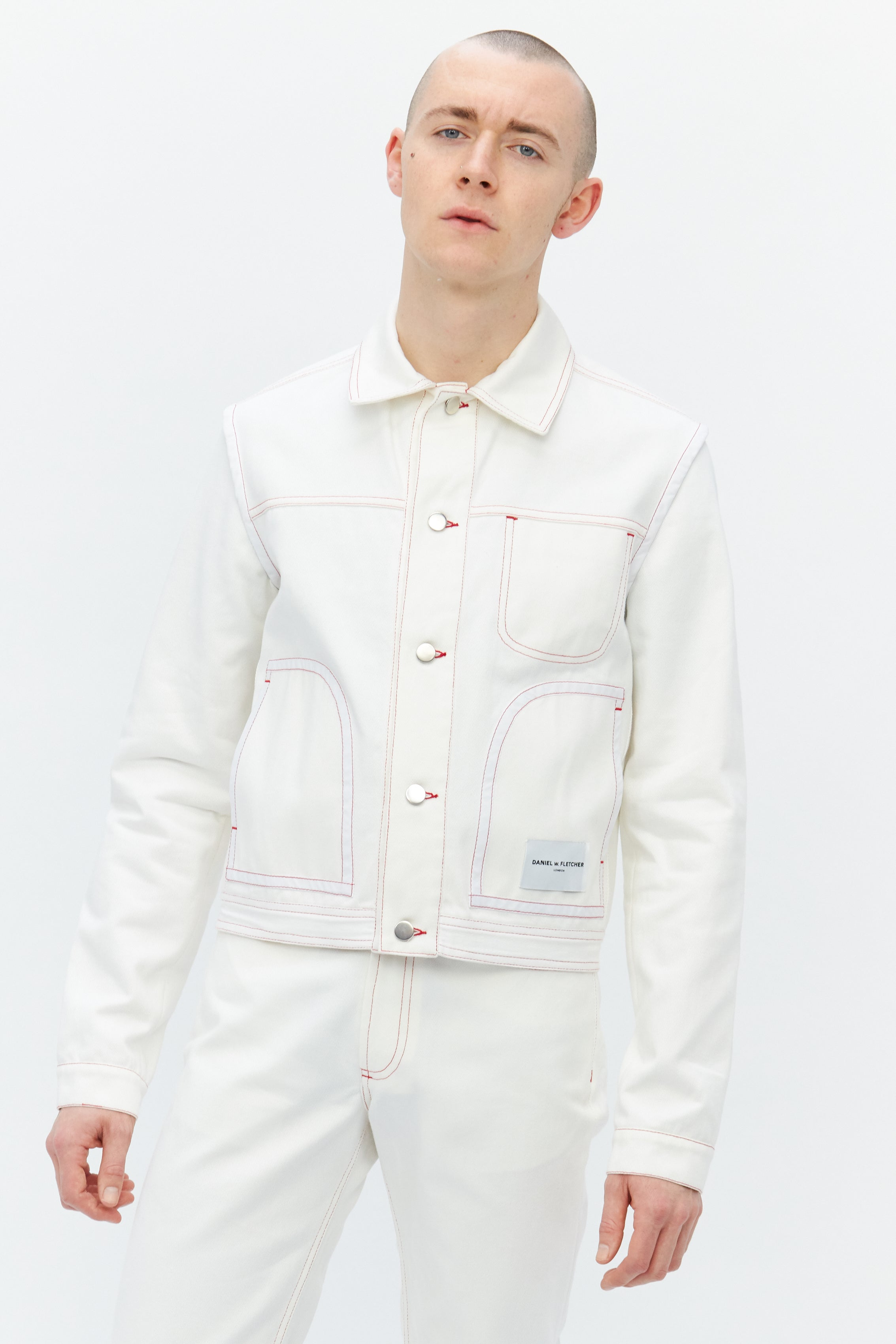 Contrast Stitch Denim Jacket White