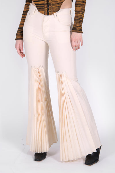 Pleat Cotton Jeans