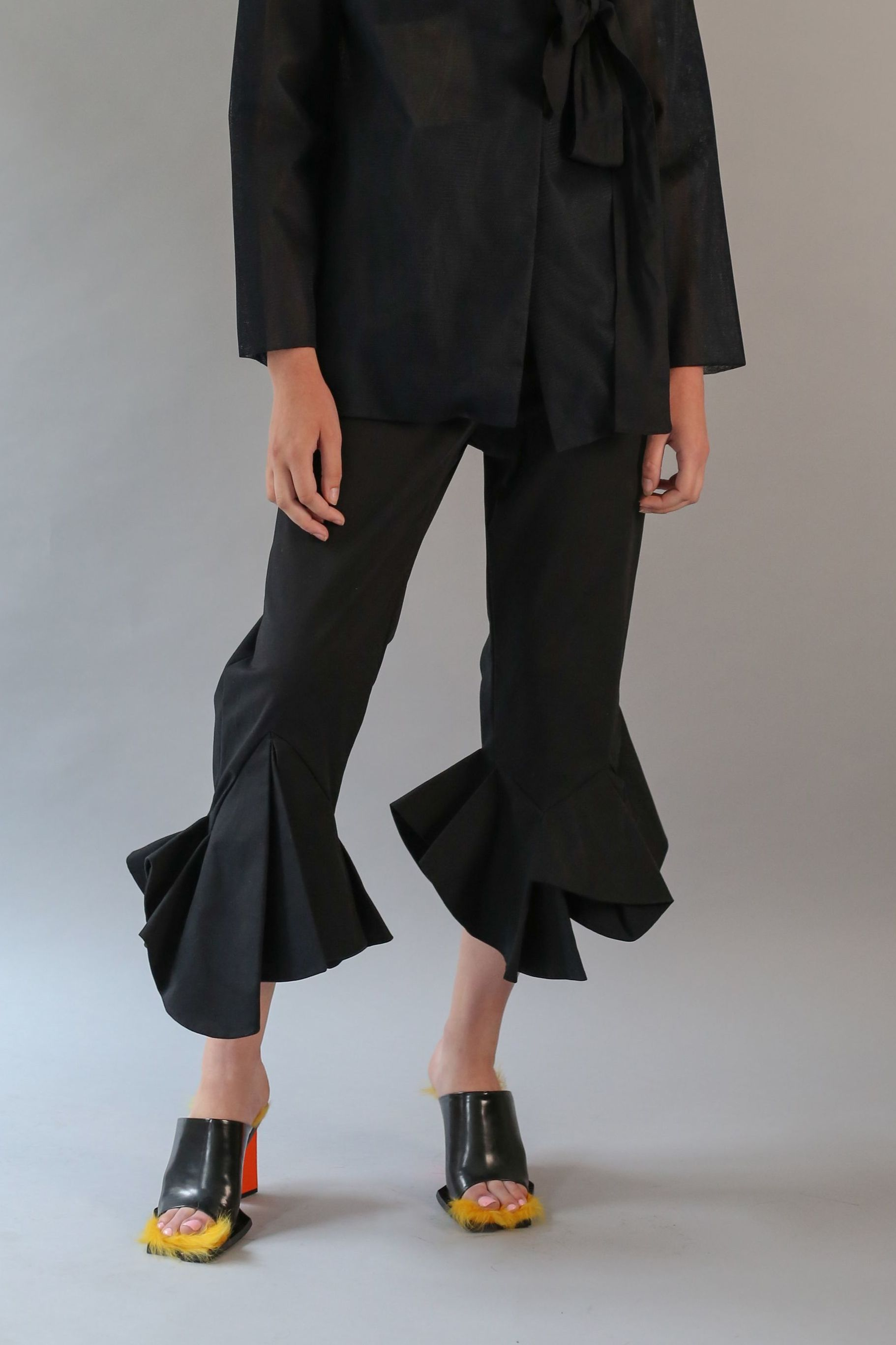 Geometric Frill Trousers