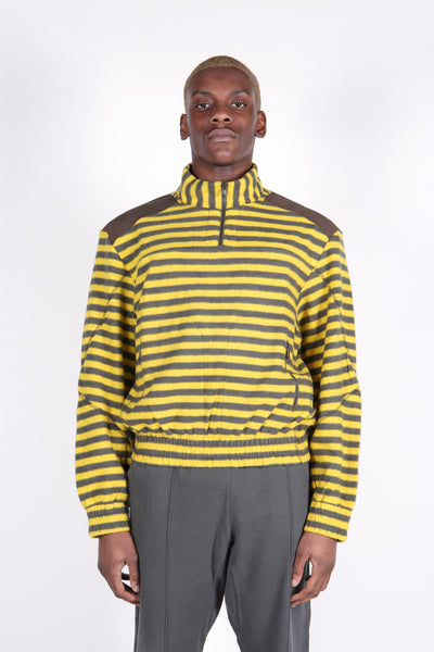 Half Zip Trekking Sweat Green & Yellow Stripe Fleece