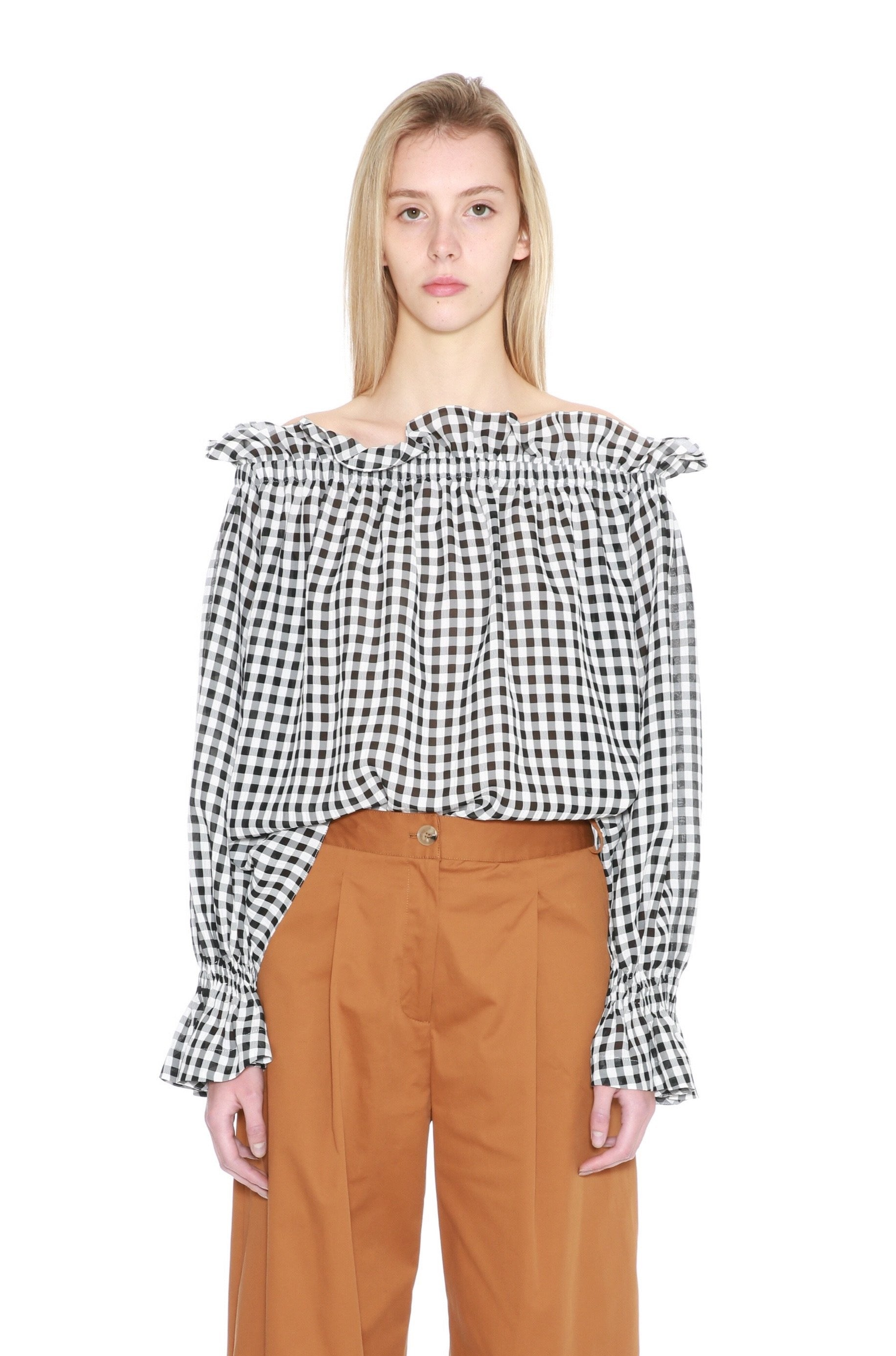 Gingham Off Shoulder Blouse-50m London