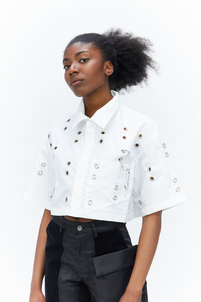 Cropped Eyelet Shirt White