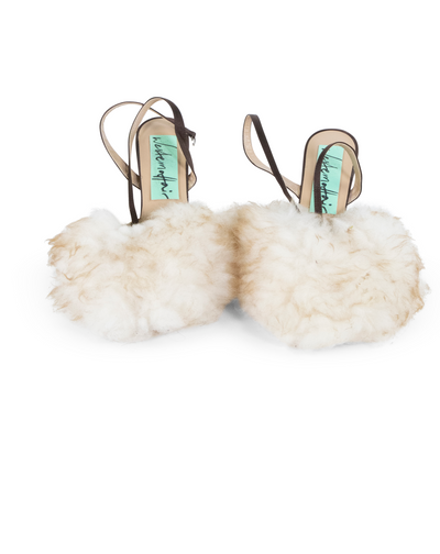 Natural Furry Heels by Western Affair (UK Size 6)