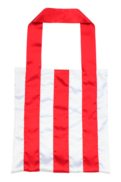 Red/White Ribbon Stripe Tote