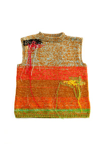 Amesh Hand Knitted Sleeveless Vest in Multi Colour