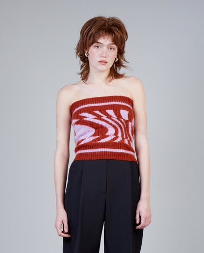 Warped Mohair Bustier in Carousel and Terracotta Stripe