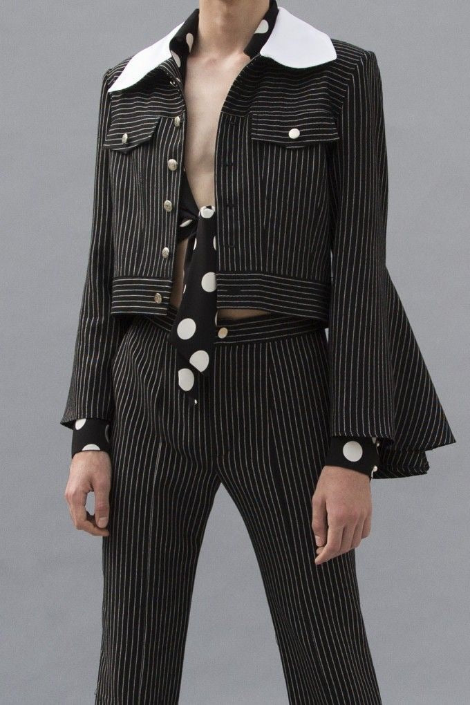 Stripe Jacket With White Collar
