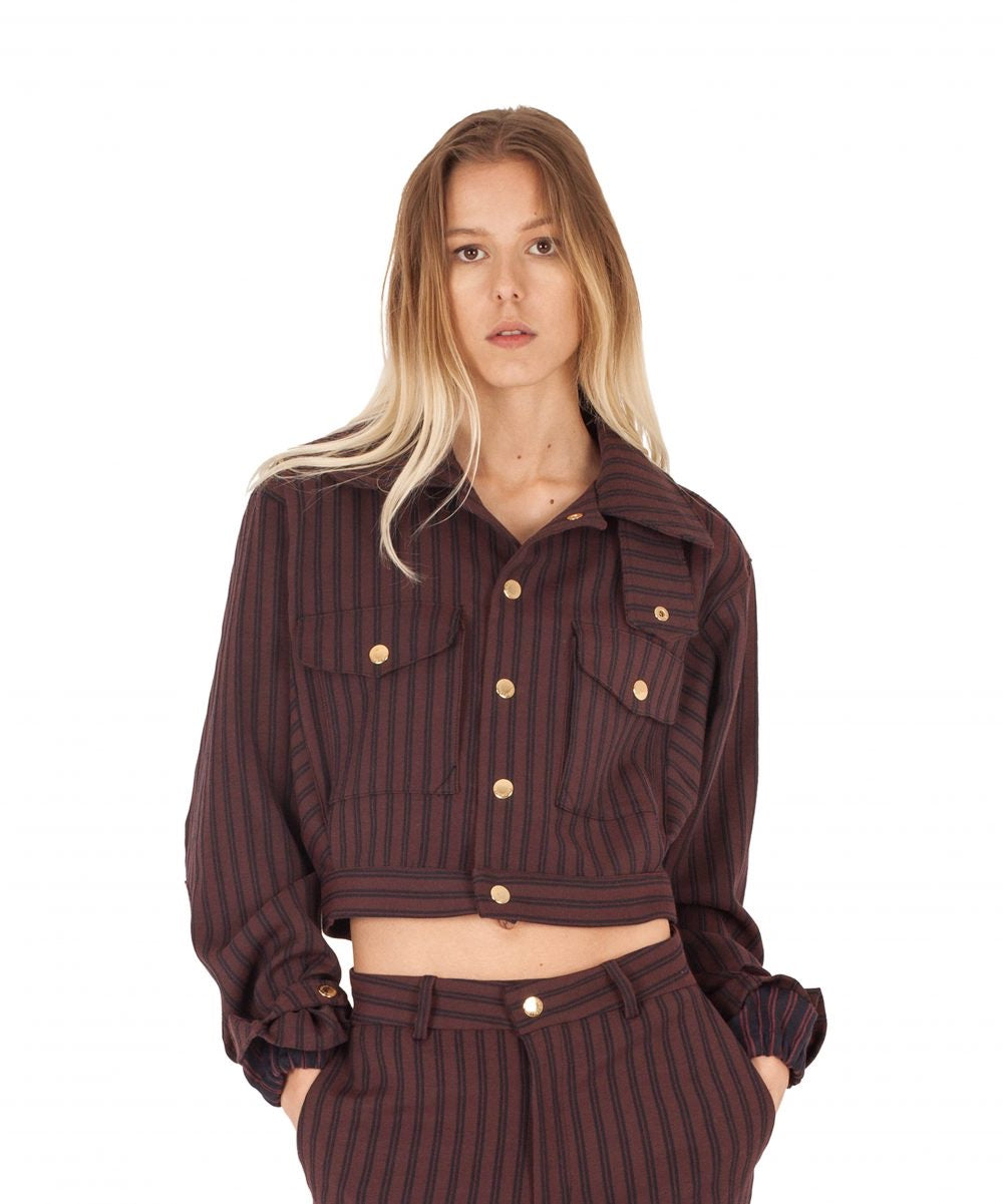 Stripe Bomber Jacket Bordeaux