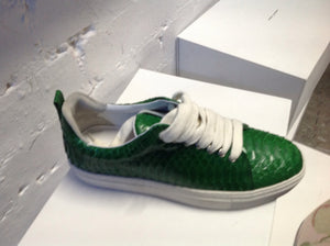 Green snakeskin trainers