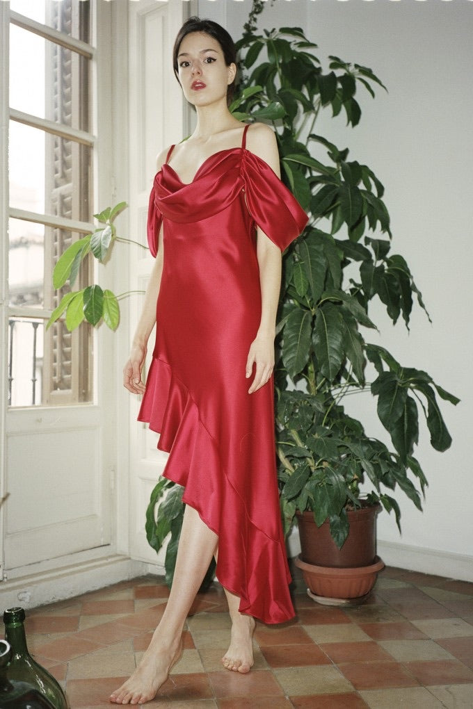 Silk Dress Red