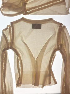 Long Sleeve Cut out Top Cream-50m London