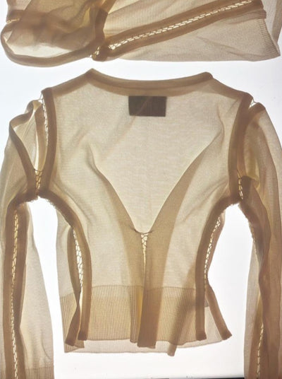 Long Sleeve Cut out Top Cream