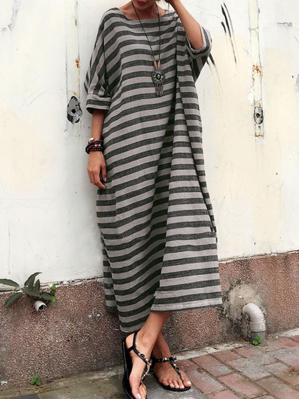 Stripes Linen 3/4 Sleeve Casual Cocoon Plus Size Maxi Dress