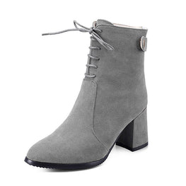 991746a4d11a Suede Pointed Toe PU Lace-up Zipper Chunky Heel Ankle Boots ...