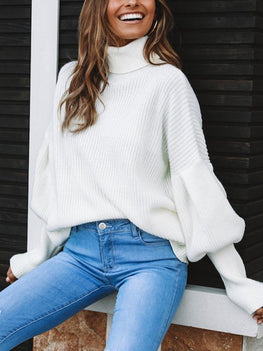 84d40623fe5a7 Fashion Turtle Neck Solid Color Balloon Sleeve Sweaters – BlackCityWall