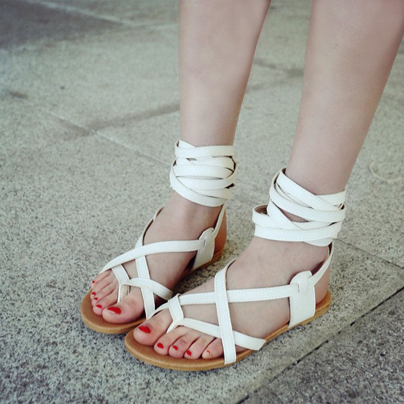 212a48465 Bohemian Style Crossover Strap Toe Clip Flat Heel Sandals – BlackCityWall