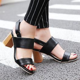 3451706a8b4 Women PU Sandals Casual Comfort Chunky Heel Roman Belt Buckles Shoes ...