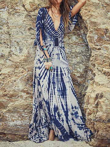 38950a6106 Boho Style V-Neck Balloon Sleeve Swing Maxi Dresses Vacation Dress