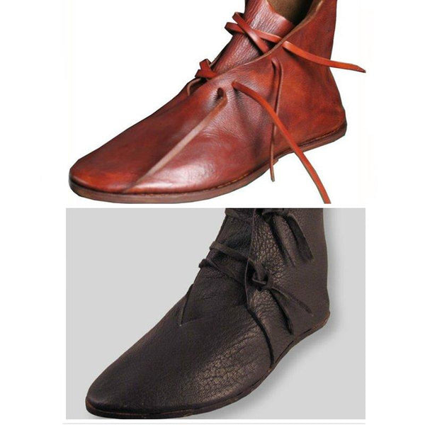 Vintage Pointed Toe Flat Heel Lace Up Mid Calf Booties