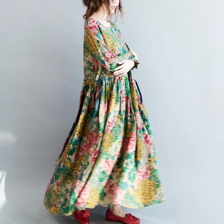 Floral long linen dresses plus size clothing tie waisttraveling o neck maxi  dresses