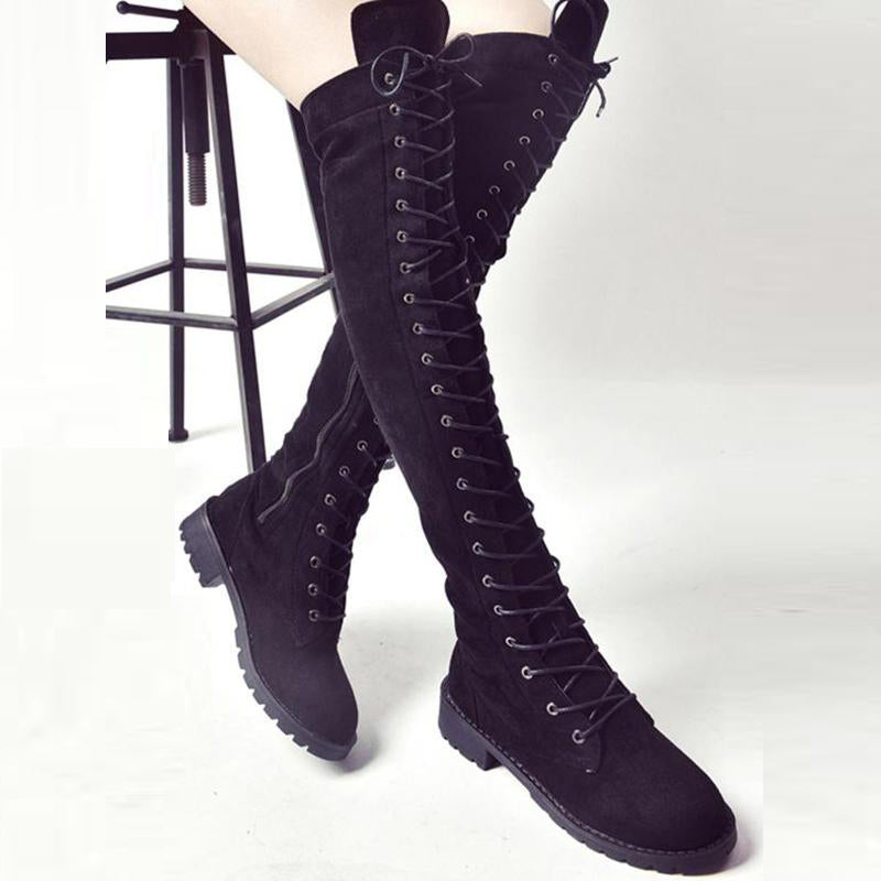 312f81fd8e9 Fashion Lace-Up Thigh High Knee-High Low Heel Martin Boots