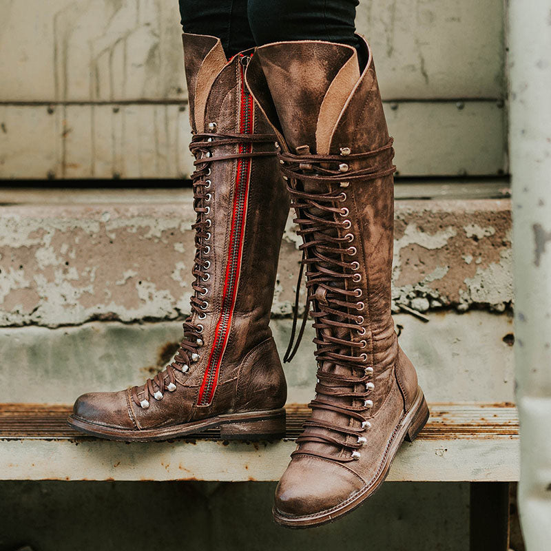 65c3c863e87f3 Vintage Lace-Up Flat Heel Knee High Boots