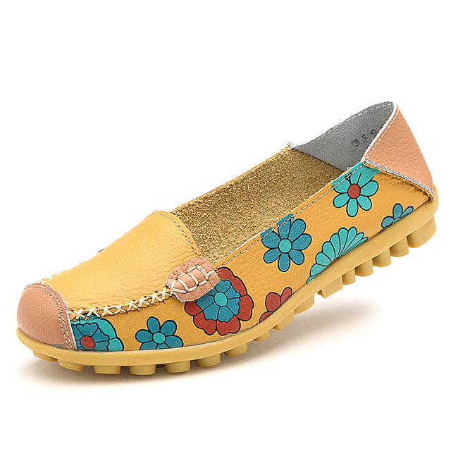 1109366bd Comfy Penny Loafers Leather Flower Printed Slip-On Ballet Flats Lazy ...