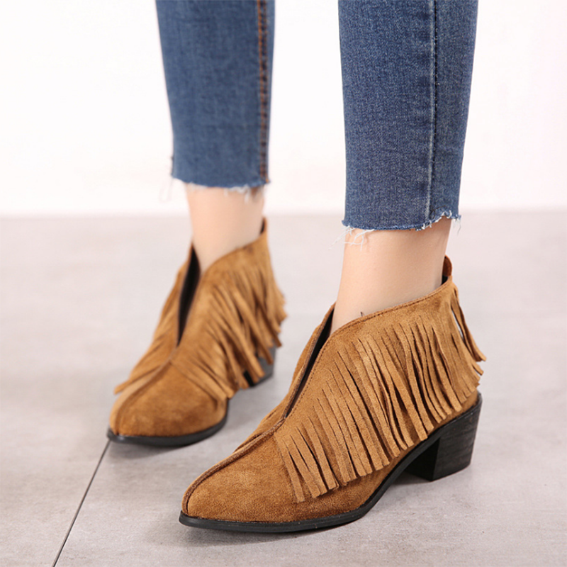 6fd553160296 Fringed slip on booties faux suede casual ankle boots blackcitywall png  800x800 Booties faux