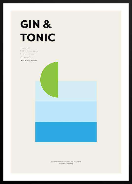 GIN & TONIC poster with frame | Photographs | Funqle.com