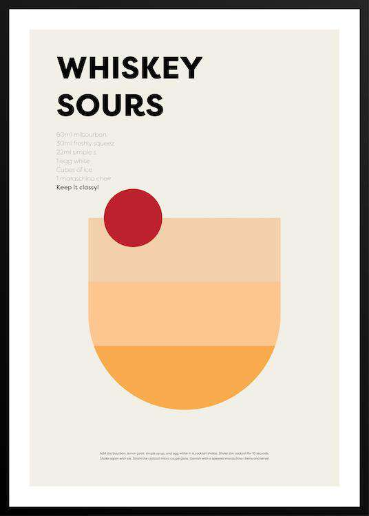 WHISKEY SOURS poster with frame | Photographs | Funqle.com