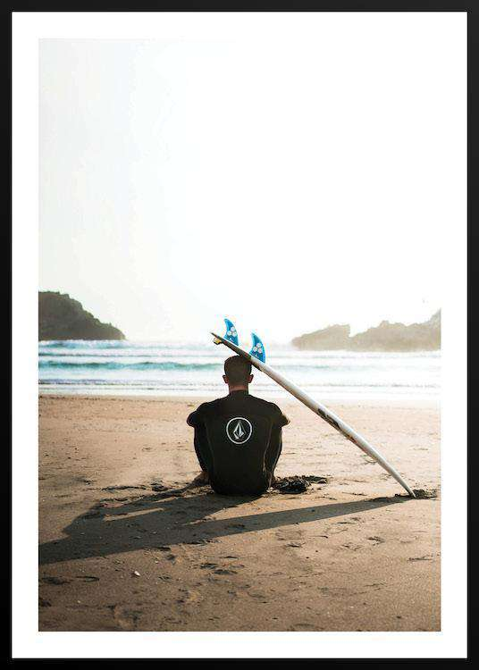 SURFER WITH BOARD with Frame | Photographs | Funqle.com