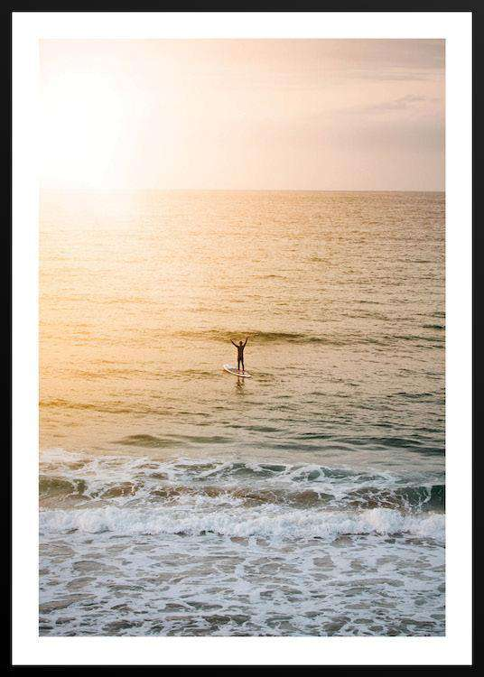 SURFER IN SUNSET with Frame | Photographs | Funqle.com
