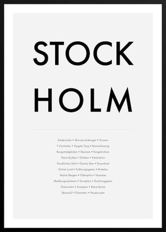 STOCKHOLM HIGHLIGHTS poster with frame | Photographs | Funqle.com