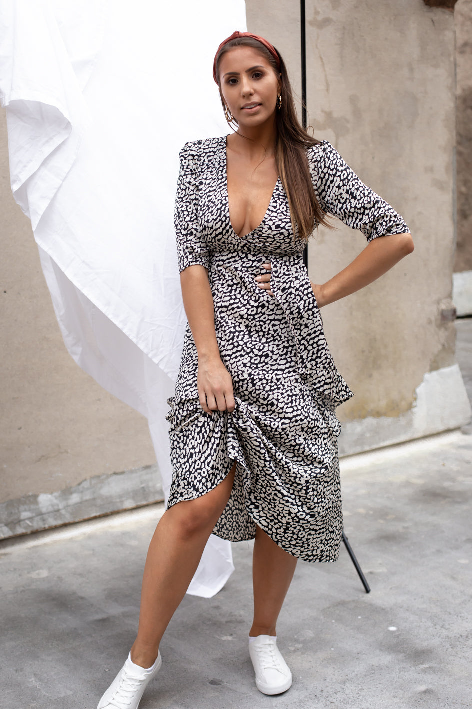 Amalie Leopard Midi Dress