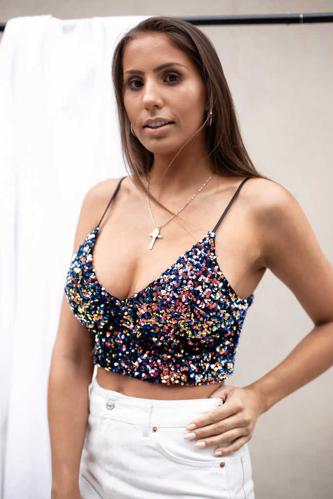 Zani Sequin Crop Top