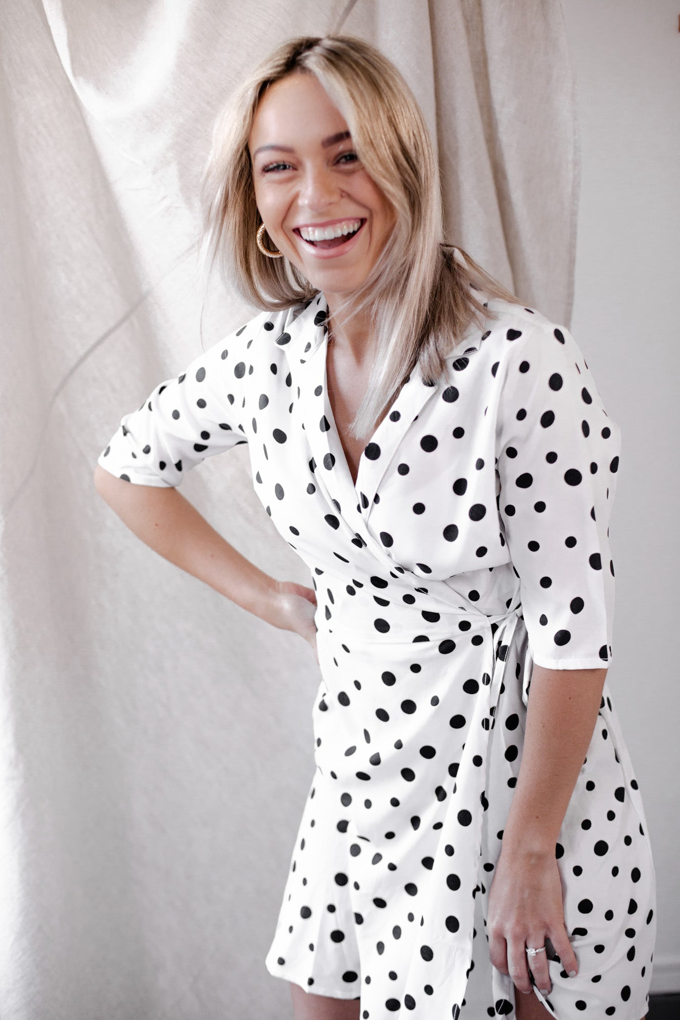 Paloma Polkadot Mini Wrap Dress