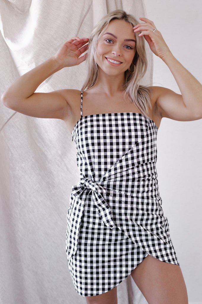 Sahara Gingham Wrap Dress