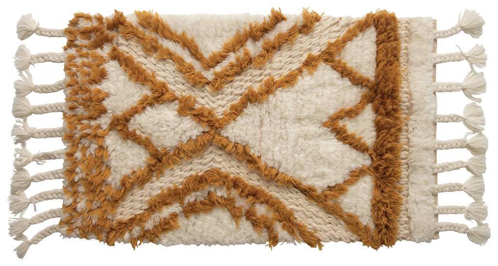 Wool Tufted Patterned Rug with Braided Tassels (Small)