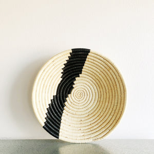 Striped Raffia Basket - medium