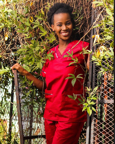 Qhawekazi Red with Trim Scrub Set